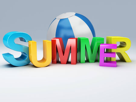 sumer: image of  of summer and palm tree 3D Illustration