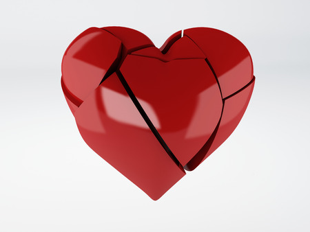 Red Broken Heart On White Background Stock Photo Picture And
