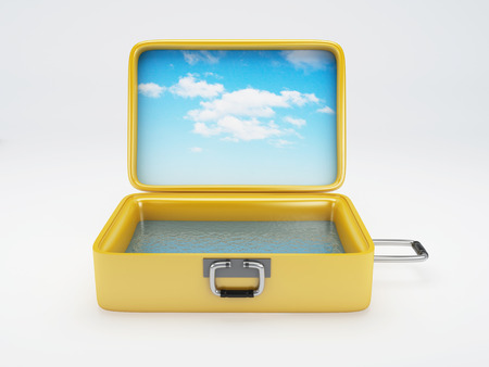 image of Travel suitcase  summer vacation concept 3d illustration  isolated white