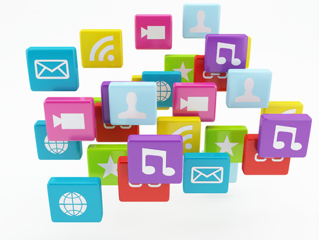 mobile app: mobile phone app icon  software concept Stock Photo