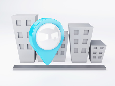 image of city with map Pointers  gps concept  3d illusrtation photo
