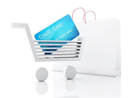 3d credit cart  shopping concept photo