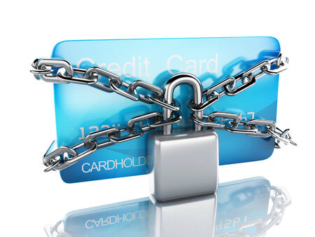 Credit Card and lock.safe banking concept on white background photo