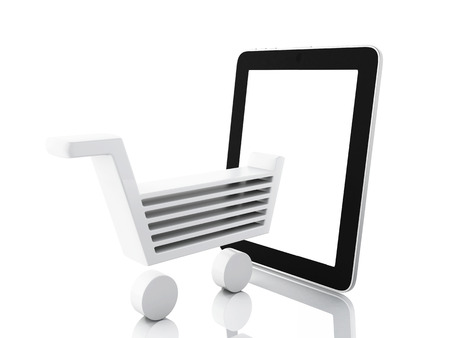 e commerce icon: internet shopping concept. Shopping cart and tablet Stock Photo