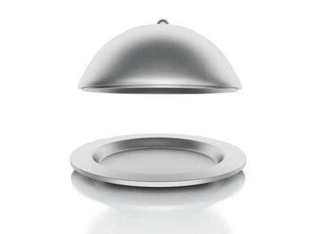 Silver Restaurant cloche on a white background photo
