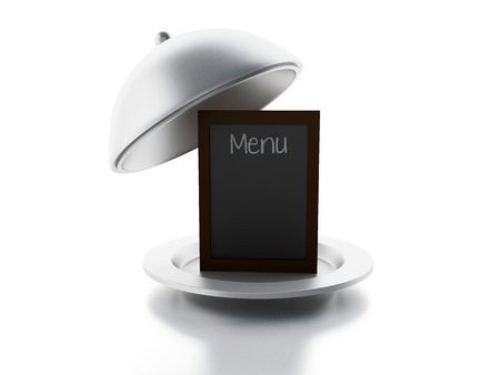 menu background: blank menu board and Serving cloche, isolated white background