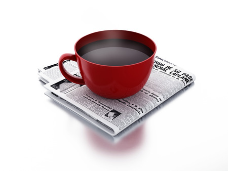 newspaper and cup of coffee. Morning news concept photo