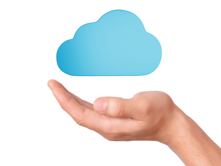hand hold cloud computing symbol on white background photo