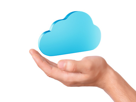 hand hold cloud computing symbol photo