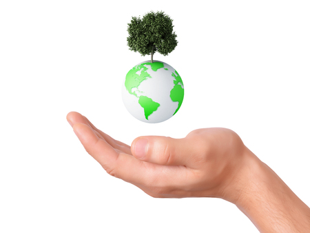 holding a earth globe and tree in his hand photo