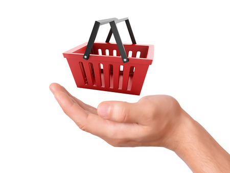 hand hold a shopping cart on white background photo