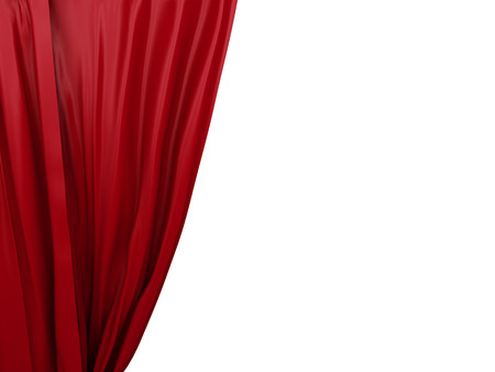 opening red curtain. Place for text on white background Foto de archivo