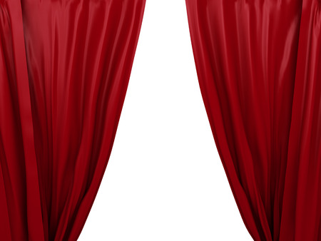 red and white: opening red curtain. Place for text on white background Stock Photo