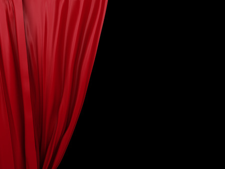 opening red curtain. Place for text on black background photo