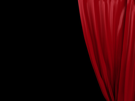 opening red curtain. Place for text on black background Stock Photo