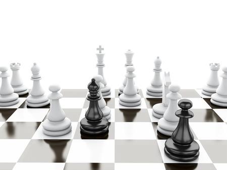 ブラック vs wihte チェス 3 d 図コンセプト 写真素材