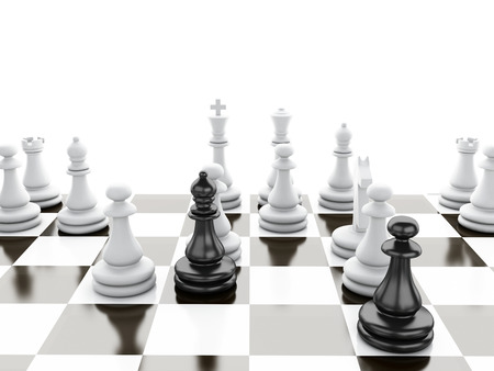 Black vs wihte chess 3d illustration concept Stok Fotoğraf
