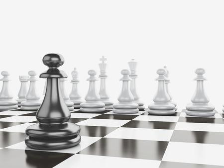 Black vs wihte chess 3d illustration concept Archivio Fotografico