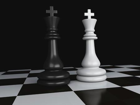 Black vs wihte chess 3d illustration concept illustration