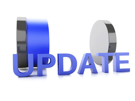 updating: update loading concept on white background. 3d illustration Stock Photo