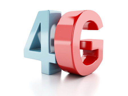 wireless communication: 4G icon. wireless communication technology concept on white background Stock Photo