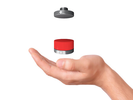 hand hold Battery icon with a low charge photo