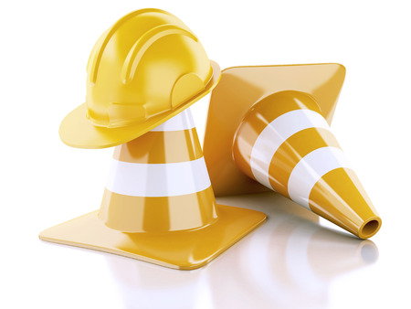construction safety: Traffic cones, Helmet. Under construction concept. 3d illustration