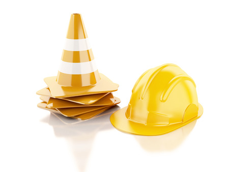 se�ales de seguridad: Conos de tr�fico. Bajo el concepto de construcci�n. 3d ilustraci�n
