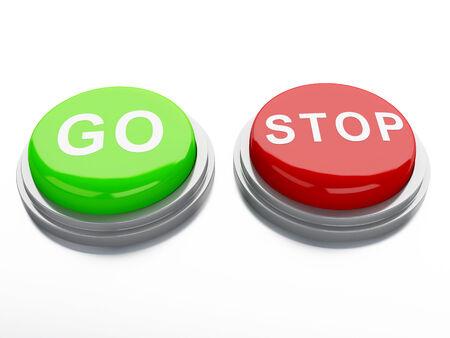 go adnd stop buttons. 3d illustration illustration