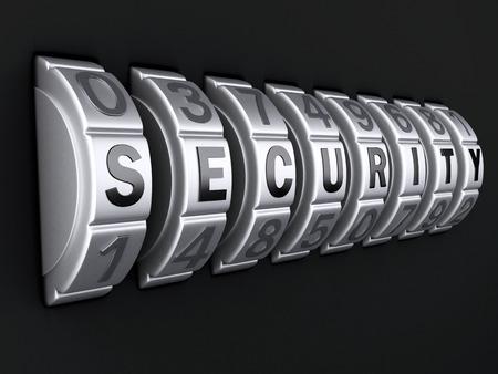 Security password. combination lock concept. 3d illustration
