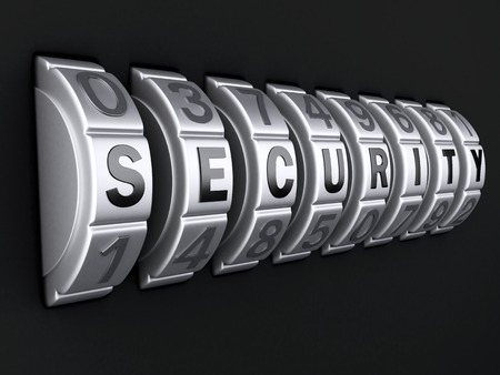 safe guard: Security password. combination lock concept. 3d illustration