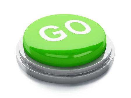 green go button. 3d illustration illustration