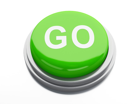 start button: green go button. 3d illustration Stock Photo