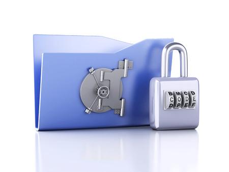 folder and lock. Data security concept. 3d illustration illustration