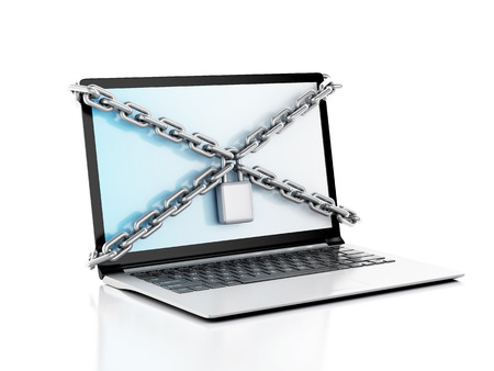 Laptop with lock and chain. Data security concept.. 3d illustration