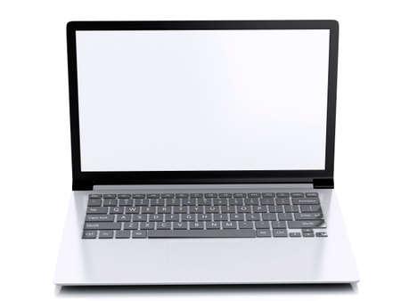 laptop screen: Modern Laptop with white screen. 3d illustration