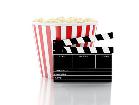 cinema clapper board and popcorn. cinematography concept. 3d image photo