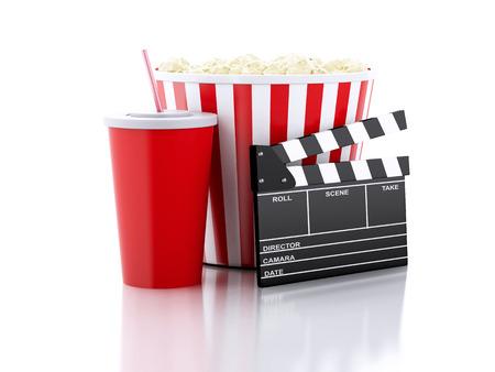 シネマ クラッパー ボード、ポップコーンと飲み物。映画のコンセプトです。3 d 画像 写真素材 - 33545576