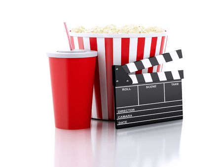 food drink industry: cinema clapper board, popcorn and drink. cinematography concept. 3d image