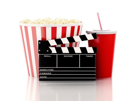 シネマ クラッパー ボード、ポップコーンと飲み物。映画のコンセプトです。3 d 画像