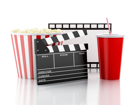 cinema clapper board, popcorn and drink. cinematography concept. 3d image photo