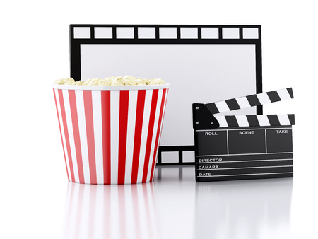 cinema clapper board, popcorn and film reel. cinematography concept. 3d illustration illustration