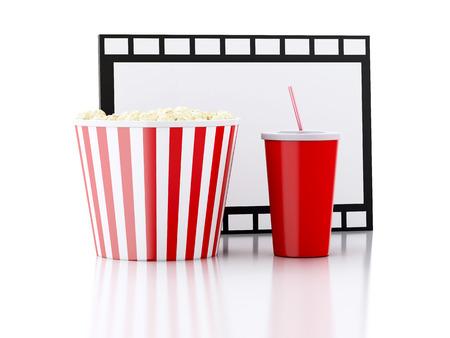 popcorn, drink and film reel. cinematography concept. 3d illustration illustration