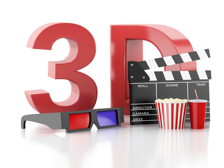 cinema clapper, popcorn and 3d glasses. cinematography concept. 3d illustration illustration