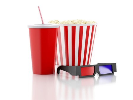 popcorn, drink and 3d glasses. cinematography concept. 3d image