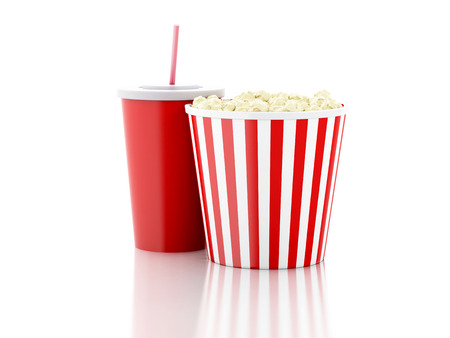 food drink industry: popcorn, drink. cinematography concept. 3d image