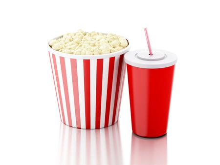 popcorn, drink. cinematography concept. 3d image