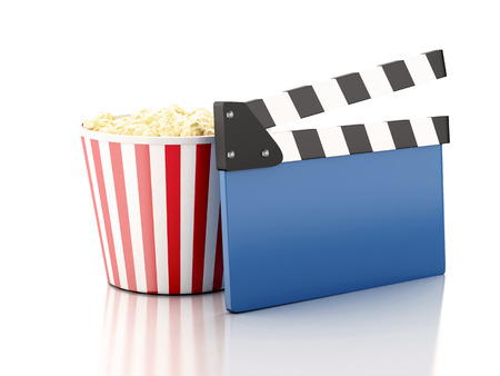 image of cinema clapper board and popcorn. cinematography concept. 3d image photo
