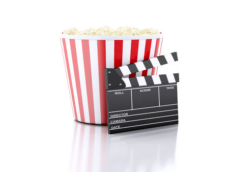cinema clapper board and popcorn. cinematography concept. 3d image photo