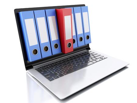 3 d アーカイブ コンセプトのイメージ。ノート パソコンと孤立した白い背景上のファイル